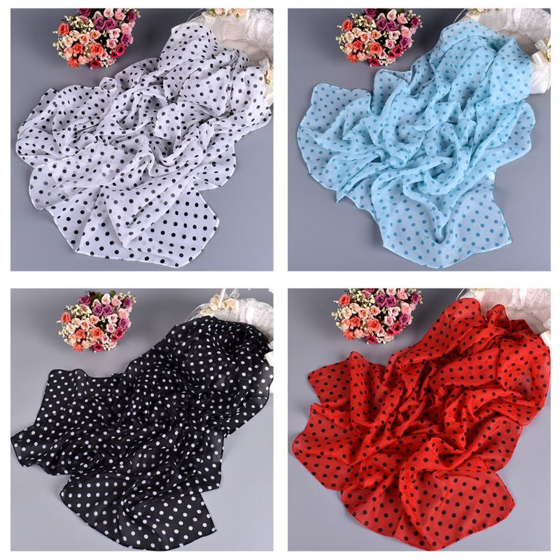 160x50cm Women Vintage Polka Dot Print Long Scarf Chiffon Lightweight Sheer Sunscreen Shawl Summer Beach Head Hair Wrap Hijab