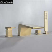 Faucet-Set Bathtub Waterfall Bathroom-Products Brass Chrome Hot-And-Cold-Water-Mixer