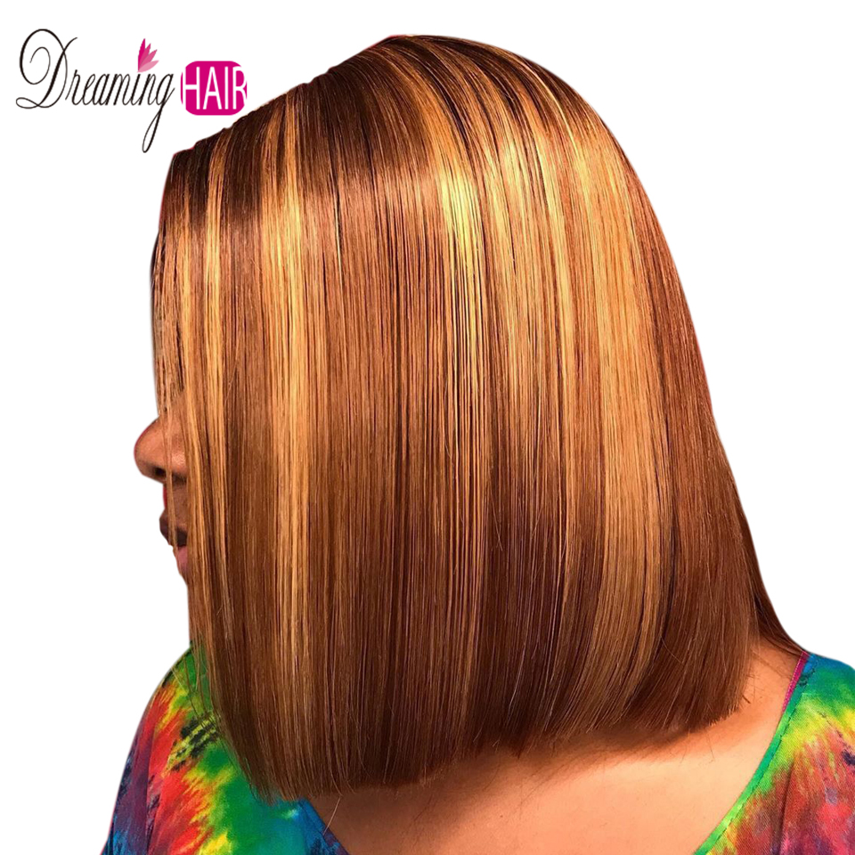 613 Color Short Bob Blonde Highlight Lace Front Human Hair Wigs With Bangs 13X4 Brazilian Straight Bob Wigs For Black Woman
