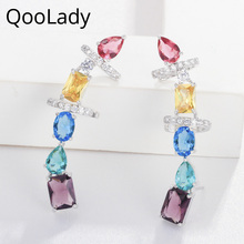 QooLady High Quality Yellow Red Fashion Cubic Zirconia Ear Cuff Clip On Half Round Design Long Stud Earrings for Women E019