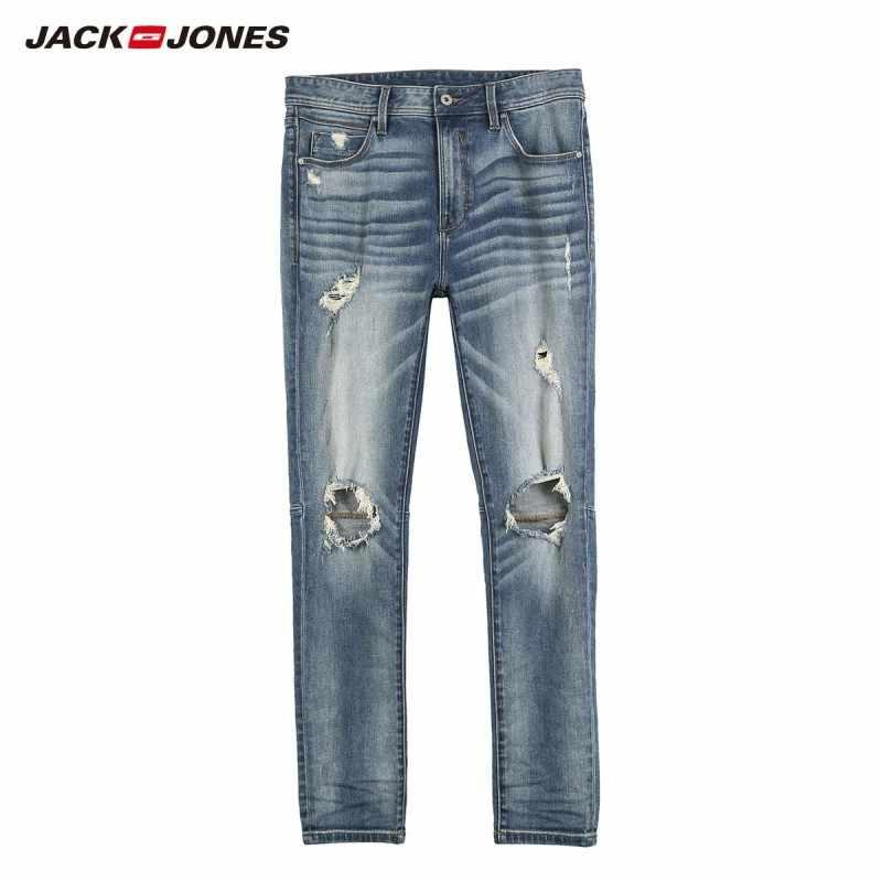 JackJones męska ulica trudnej sytuacji obcisłe dżinsy rurki poszarpane dziury spodnie męskie 219132603