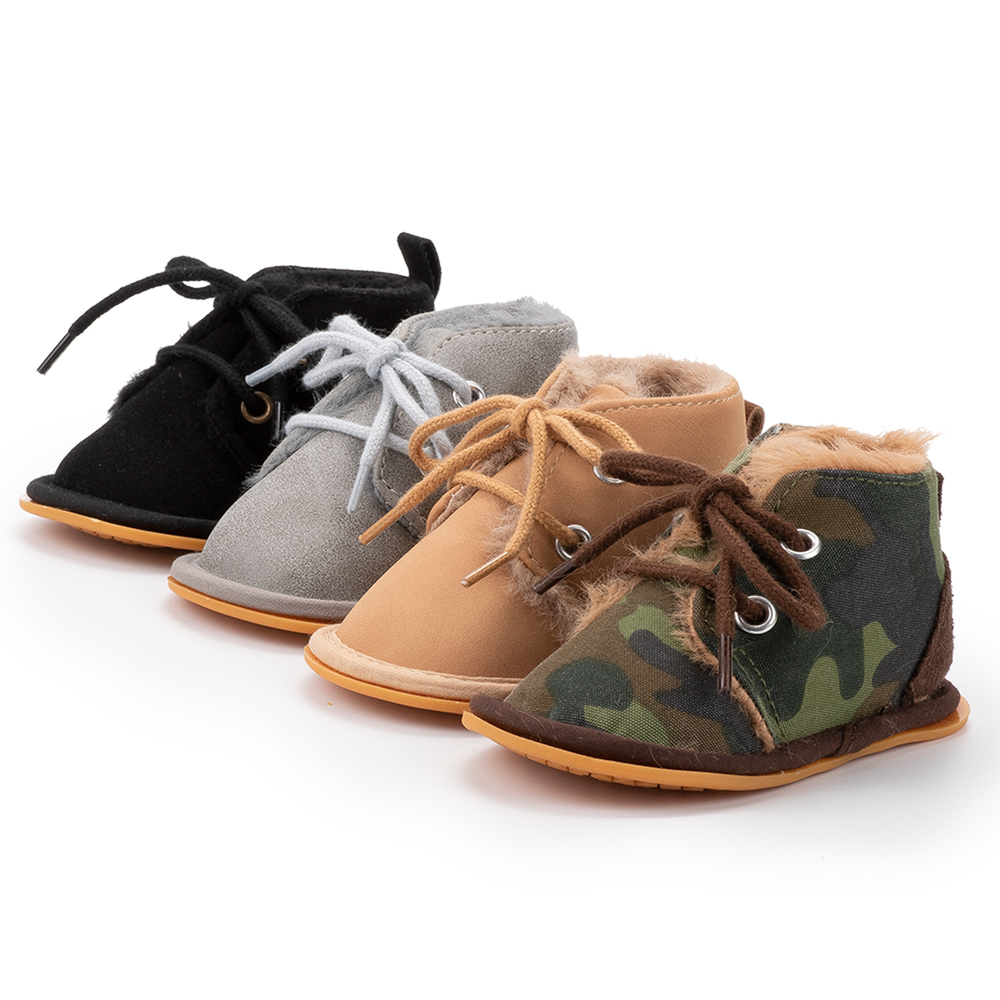 New Style Winter Warm Villus Inside Infant Baby Boots Shoes Boy Anti-slip Rubber Sole Newborn Toddler First Walkers Crib Shoes