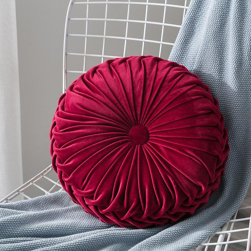 H05d56a3568574fa99a36c9921582b790B Velvet Pleated Round Floor Cushion Pillow Pouf Throw Home Sofa Decor