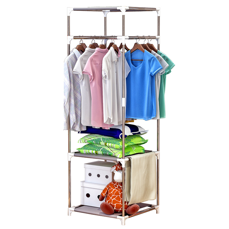 Metal Coat Rack Floor Standing Clothes Stand Garment Rack With Shelf Home Bedroom Clothing Wardrobe Storage Organizer Furniture