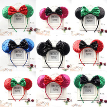 Christmas Hair Clips Cute Sequin Mickey Ears Headband Accessories Fancy Minnie Hairband Bows for Girls Party with Minnie