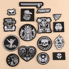 100pcs/lot Embroidery Patches Clothing Accessories Black White Letter Skull Iron Transfer Witchcraft Appliques  Stranger Things