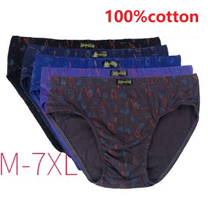 5pcs/lot 7XL 6XL 100% Cotton Male Underwear Comfort Men printing Briefs Comfortable Men Underwear Briefs Underpants Panties Male