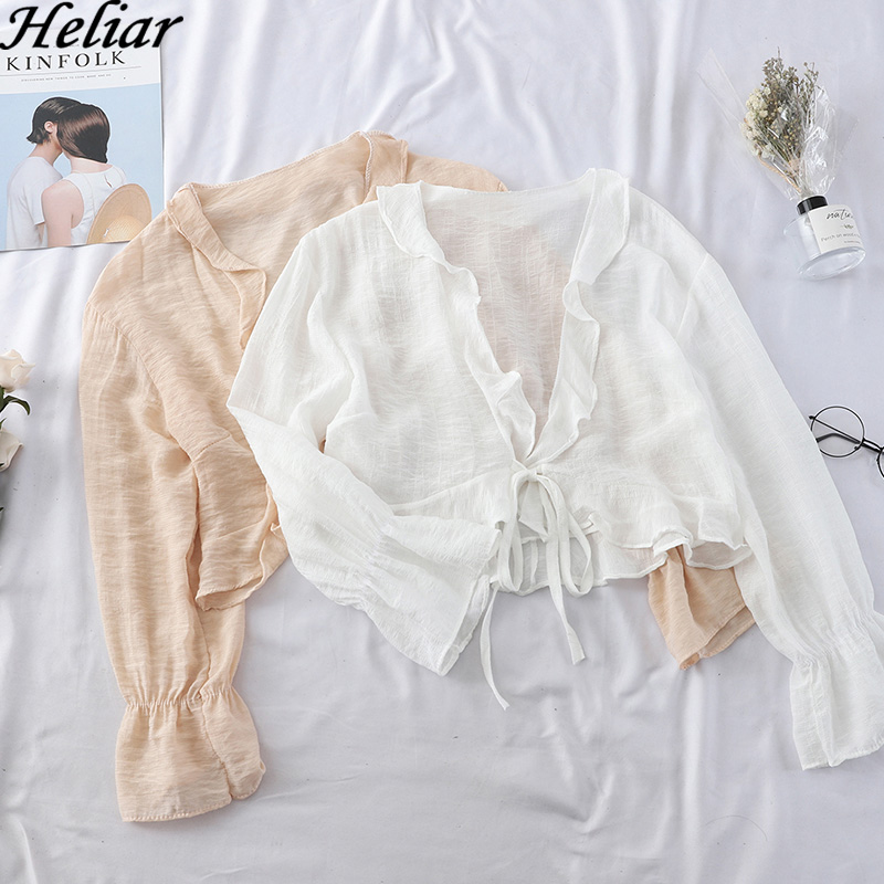 HELIAR 2019 Women Spring Chiffon Blouse Lazy Style Fashions Long Sleeve Blouse Woman Casual Suit Womens Tops And Blouses Spring