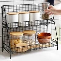Alambre de hierro estante de almacenaje para cocina de cestas para maquillaje de Metal de soporte para sazonado cuarto de baño estante de escritorio hueco plato organizador