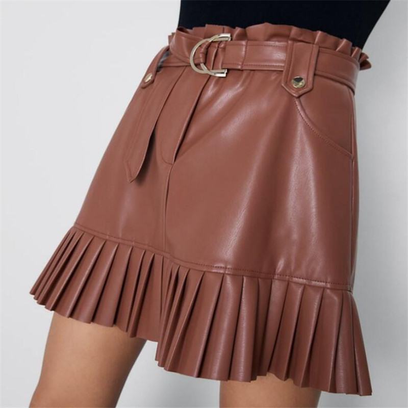 PU Skirts Women Ruffles Bow Tie Sashes Pockets Zipper Fly Pleated Skirt Female Casual Women Leather Skirt Ladies Clothing