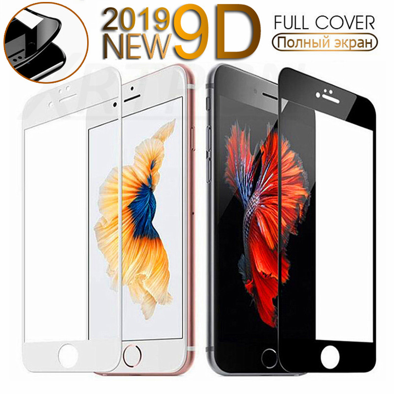 9D Protective Glass On The For IPhone 6S 6 7 8 Plus X Xs Tempered Screen Protector Curved Glass On IPhone 7 8 X Protection Film