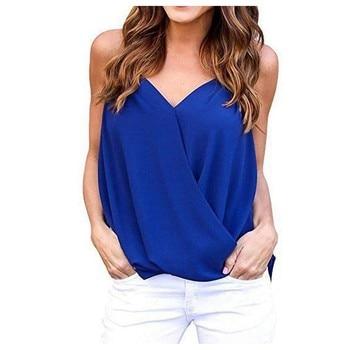 Women Chiffon Tank Summer Sexy Top Shirt Solid Sleeveless Fashion V-neck Shirt   Women Tops Plus Size Women Clothes#30 1