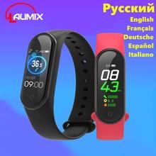 Laumix اللياقة البدنية تعقب درجة حرارة الجسم معدل ضربات القلب مراقبة ضغط الدم مقاوم للماء سوار ذكي الروسية متعددة اللغات