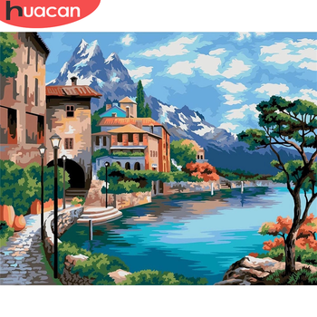 HUACAN DIY Seaside City Pictures By Number Kits Home Decor Painting By Numbers Scenery Drawing On Canvas HandPainted Art Gift