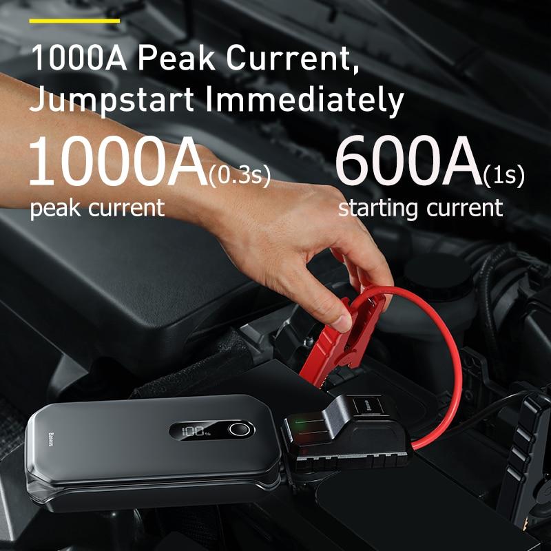 Baseus – démarreur de saut de voiture 1000A, batterie Portable 12000mAh, Station de démarrage d'urgence pour voiture 3.5L/6L