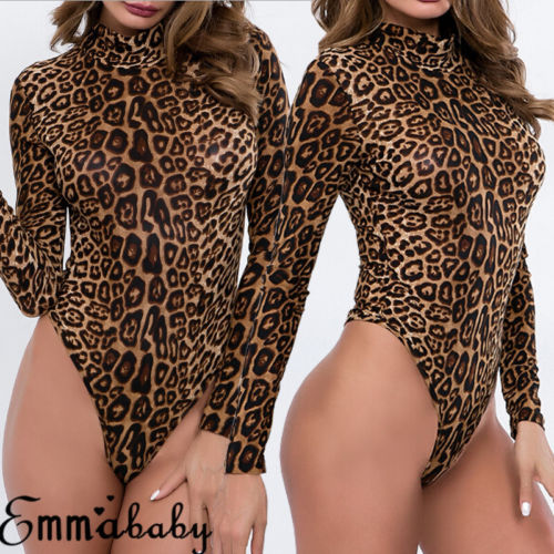 New 2019 Autumn Ladies Sexy Leopard Print Bodysuit Women Sexy Leopard Long Sleeve Stretch Leotard Tops