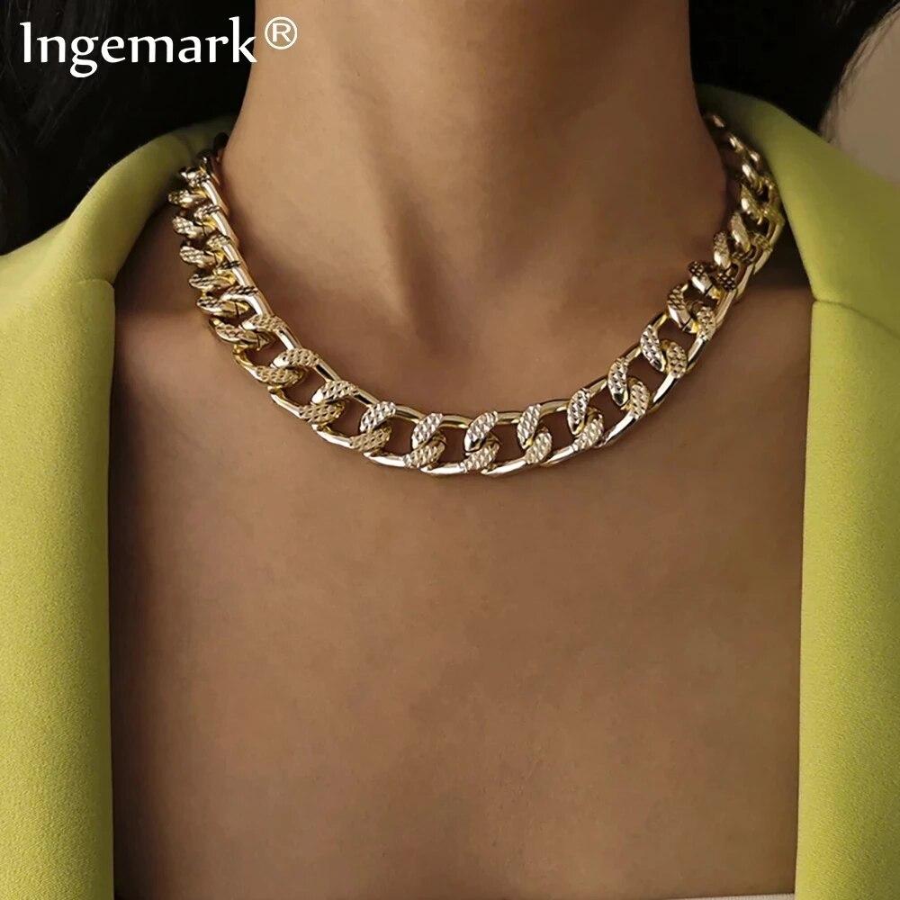 Ожерелье-чокер женское из кубинской цепи, толстая цепь из алюминия в винтажном стиле, массивное Ювелирное Украшение в стиле панк, новогодня...