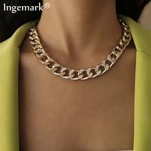 Alta calidad cubano gargantilla collar de Gargantilla Collares Punk gruesos Vintage grueso enlace de la cadena Cadena de aluminio para las mujeres de Año Nuevo de accesorios de la joyería