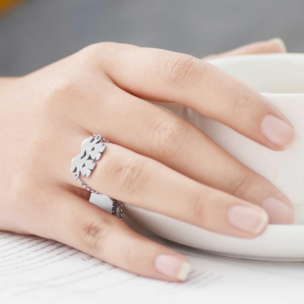 2 teile/los 100% Edelstahl Zwei Mädchen Charms Finger Ring Edelstahl Slider Extender Einstellbare Ring Runde Ringe Für Frauen