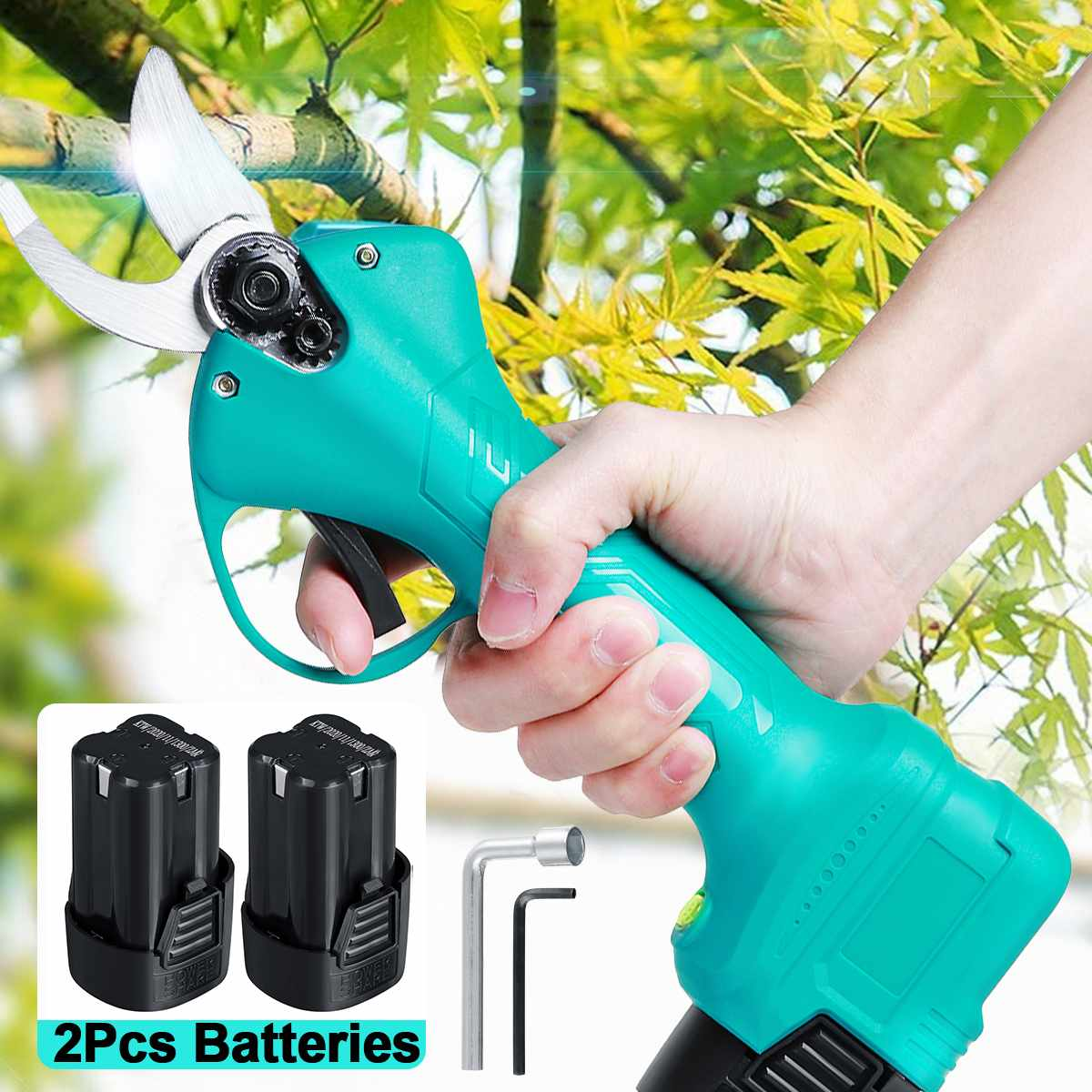 21V Cordless Pruner Electric Pruning Shear Trimmer Cutter  Efficient Fruit Tree Bonsai Garden Scissors with Lithium-ion Battery