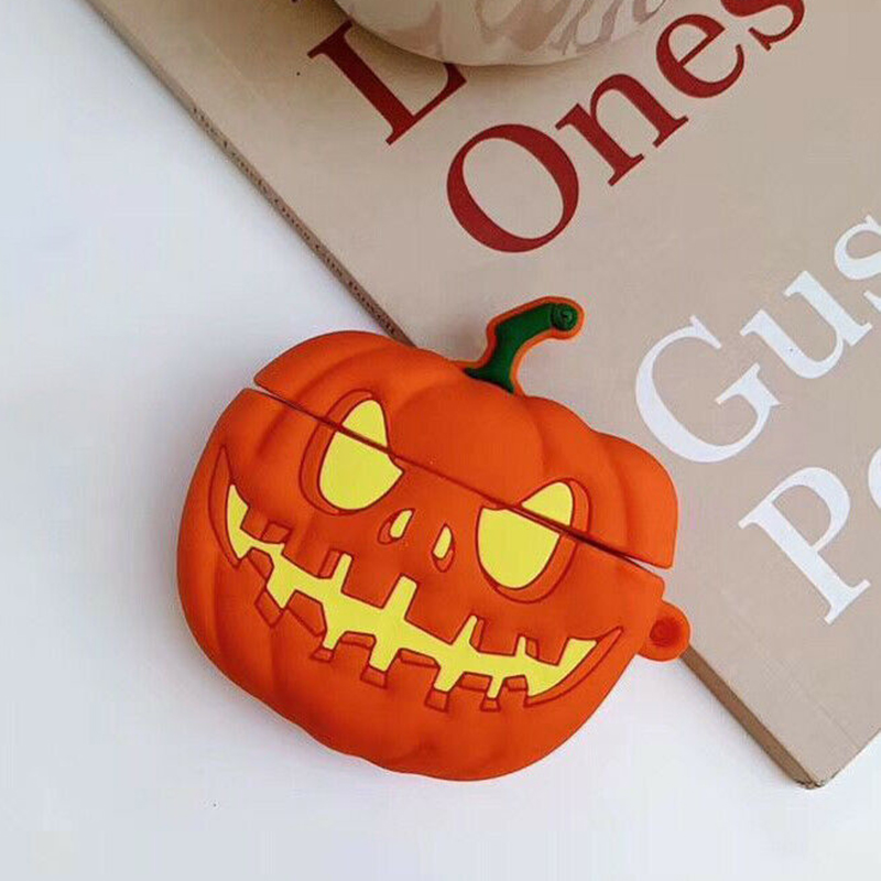 Halloween Pumpkin Silicone Protective Case For Airpods bluetooth Earphones