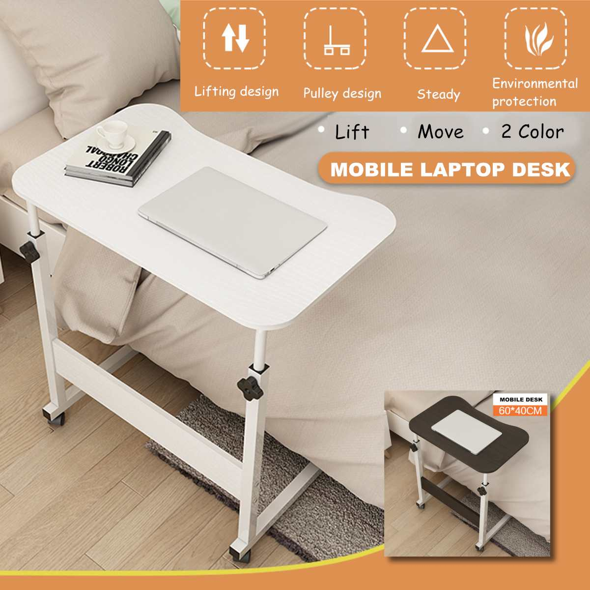 Adjustable Height Bedside Laptop Table Portable Wooden Notebook Home Mobile Laptop Desk Bed Side Study Table Computer Stand
