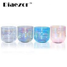 Diaezor 432Hz 6 Inch Color Clear Cosmic Light Chakra Crystal Singing Bowl For Meditation with hollow suede stick & o-ring