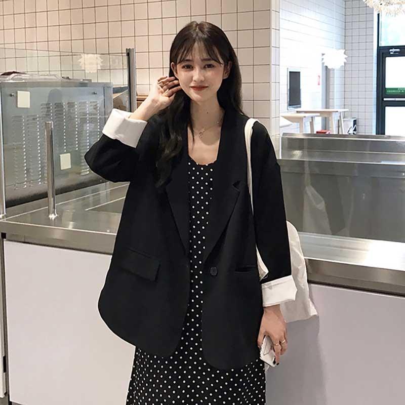 2019 Women Spring Autumn Fashion Brand Korea Style Vintage Simple Slim Black Suit Blzaer Female Casual Loose Suit Coat Jacket