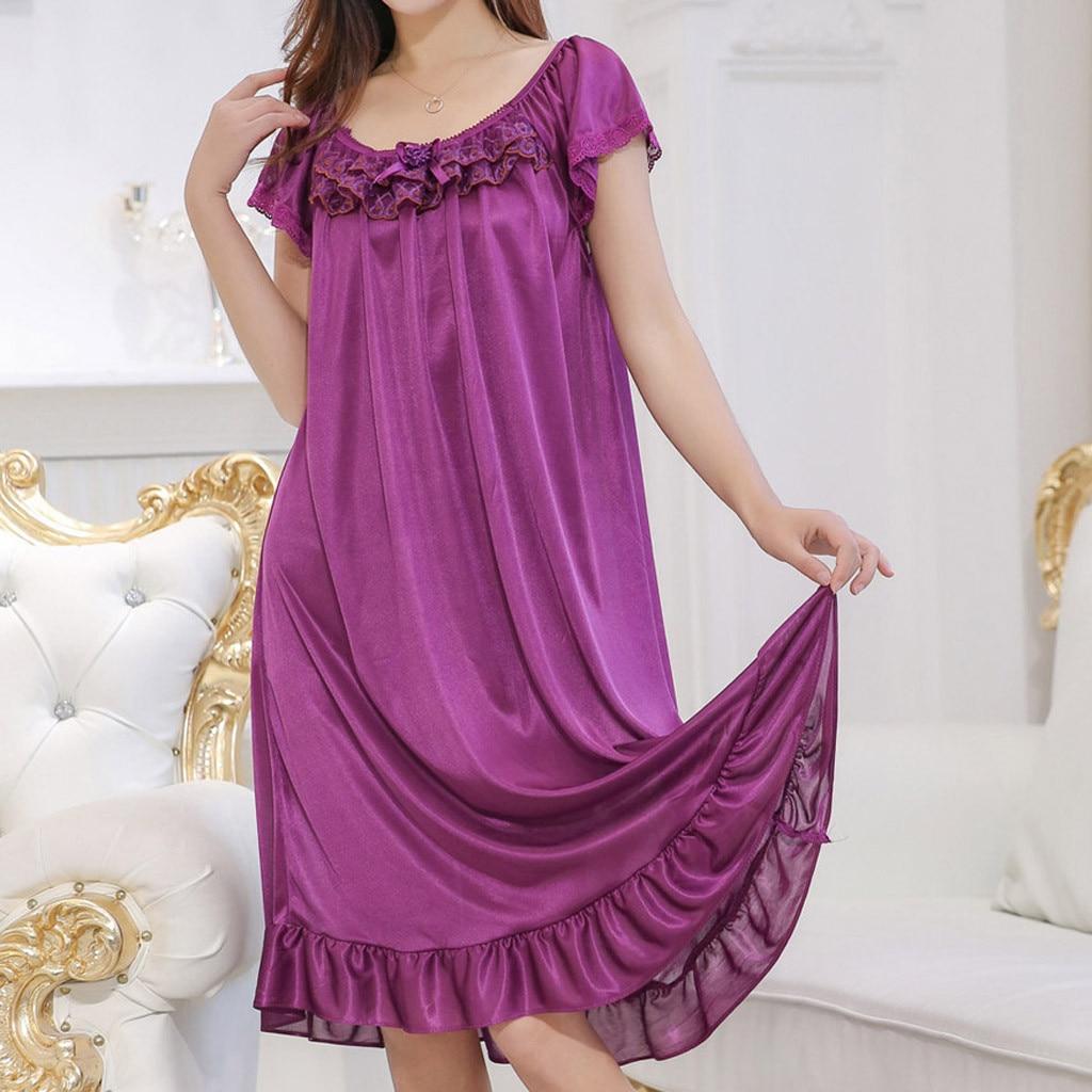 Loose Nightgown Nightdress Sleepwear Women Nightwear Summer Home Dress Gown Sexy Sleep Shirt Nightshirt Ladies халат женский(China)