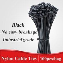 Attache de câble en plastique nylon, organiseur noir autobloquant, fermeture éclair, 100 pièces