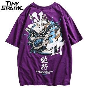 Image 1 - Женские китайские футболки со змеиным принтом, уличная одежда в стиле Харадзюку, весна лето 2020, футболки с коротким рукавом, хлопковые футболки