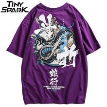 Koszulka hiphopowa mężczyźni wąż chiński Charaters koszulki Harajuku Streetwear 2020 wiosna letni t shirt z krótkim rękawem topy koszulki bawełniane