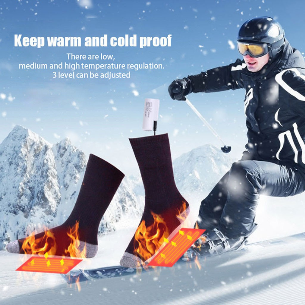 Heated Socks Rechargeable Battery USB Charging Winter Warm Thermal Skiing Sports Accessories Outdoor Winter Warm Tools Hiking