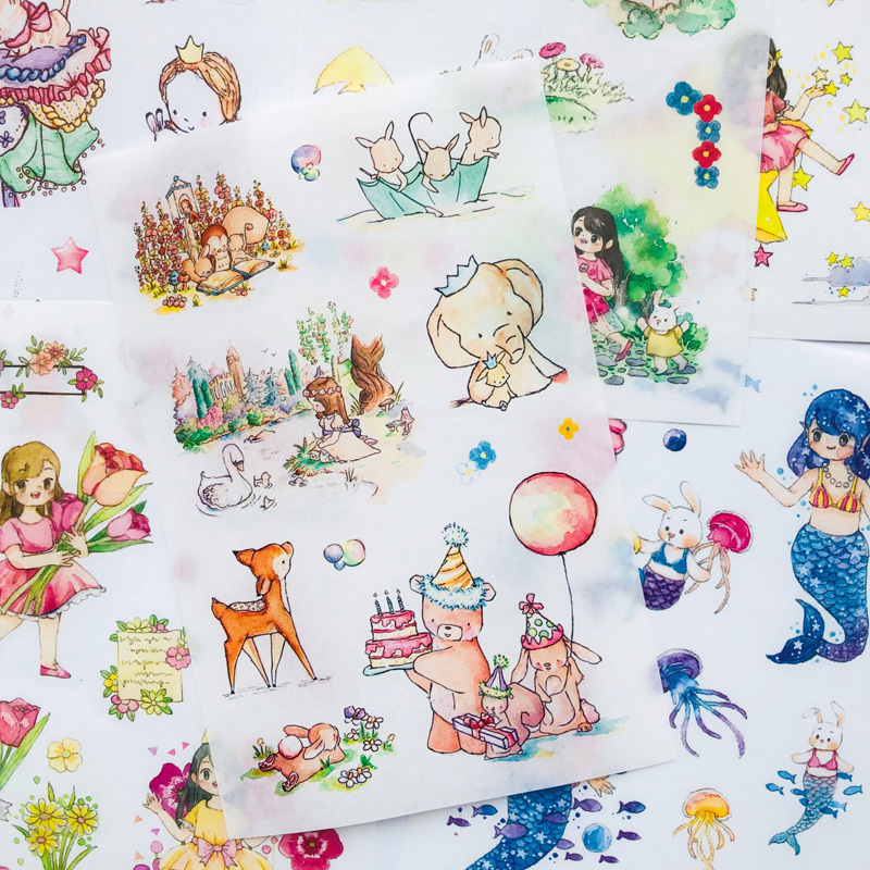 6 Sheets/Pack Fairy Tales Paper Sticker Adhesive Craft Decorative Notebook Computer Phone DIY Decor