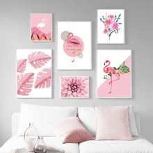 Flamingo Monstera Leaves Succulent Plants Wall Art Print Canvas Painting Nordic Posters And Prints Pictures For Living Room