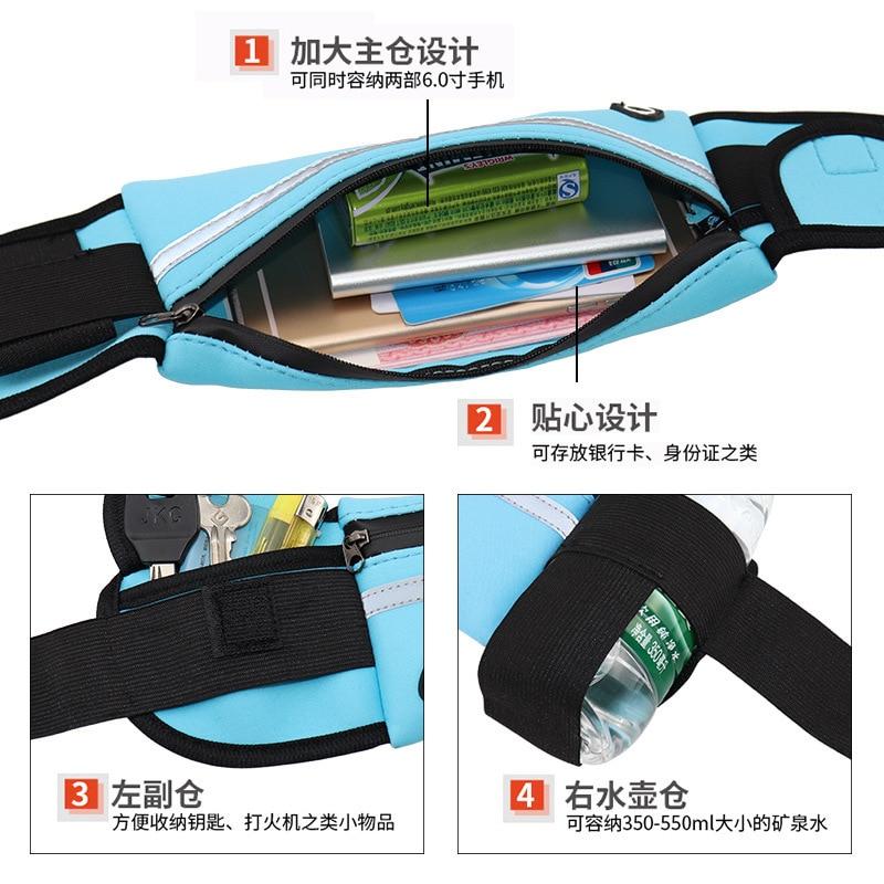 Sports Waist Pack Men And Women Outdoor Running Multi-functional Waterproof Hidden Small Belt Bag Pitcher Phone Bag Reflective S