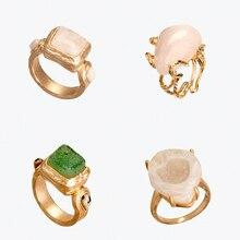 Dvacaman 2020 nuevo ZA Vintage anillos grandes artificiales de la gema para las mujeres Boho Anillos de piedra Natural accesorio étnico de la joyería de la playa del verano