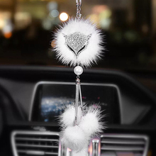 Car fox head pendant car rearview mirror with diamond sable to protect safety Creative gifts