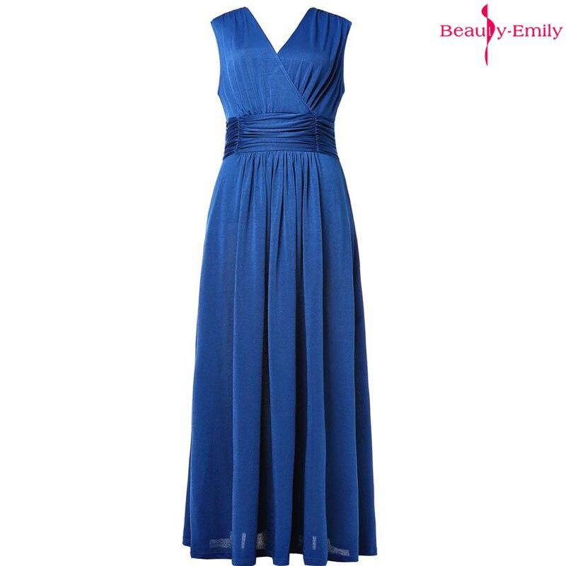 Beauty Emily V-Neck Chiffon   Evening     Dresses   Navy Blue Long Sleeveless Elegant Zip Open Back Pleated Prom Gowns Vestidos de festa