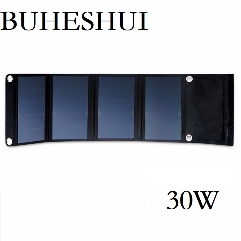 BUHESHUI 30W 5v Solar Panel Charger Dual USB Waterproof Foldable Solar Cells for Smartphones Tablets Camping Travel