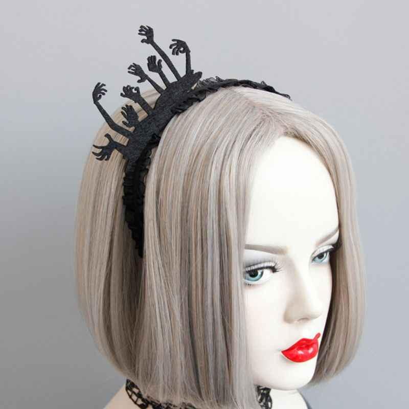 Femmes fantôme main bandeau noir dentelle bordure cheveux cerceau Halloween décor casque C6UD