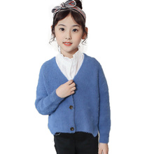 2019 Spring Childrens Clothes Girls Sweaters Casual Solid Long Sleeve Baby Girl Knitted Cardigan for Big Kids
