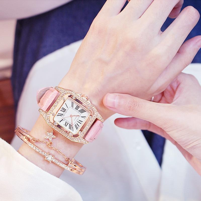 Women Diamond Watch Starry Square Dial Bracelet Watches Set Ladies Leather Band Quartz Wristwatch Female Clock Zegarek Damski 6