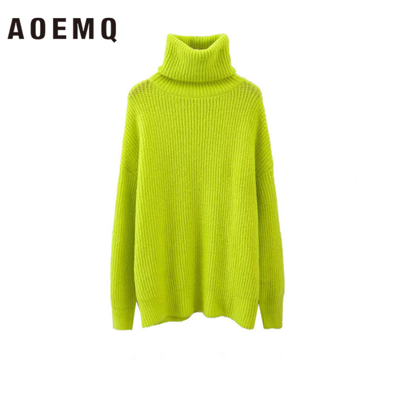 AOEMQ Simple And Stylish Multi-color Warm High Collar Long-sleeved Slim Raglan Sleeves Long Knit Sweater Coat