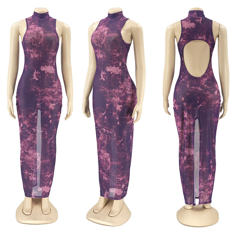 ANJAMANOR Tie Dye Mesh Printed Sexy Maxi Dresses for Women Clothes 2021 Party Club Outfits Open Back Bodycon Dress D6-CZ16 5