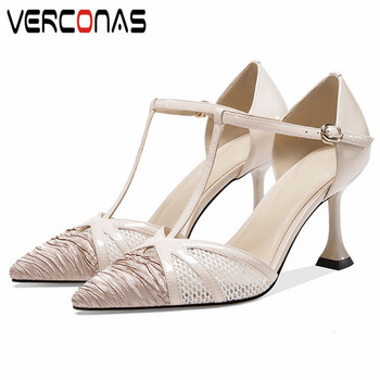 VERCONAS  2020 Fashion Woman Sandals Woman Pumps Classic Design Genuine Leather Shallow  Pointed Toe Thin High Heels Shoes Woman