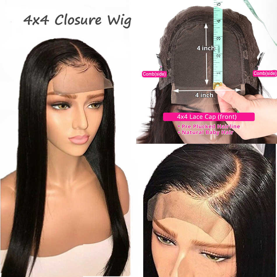 4x4 Lace Closure Wig PrePlucked Remy Straight Real Human Hair With Baby Hair For Black Women Top Human Hair Toppers My First Wig