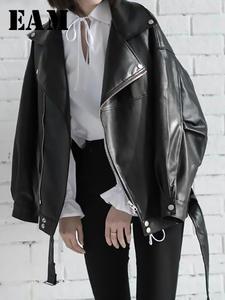 Women's Wild-Jacket Zipper Spring Black Loose EAM Fashion High-Quality Turn-Down-Collar