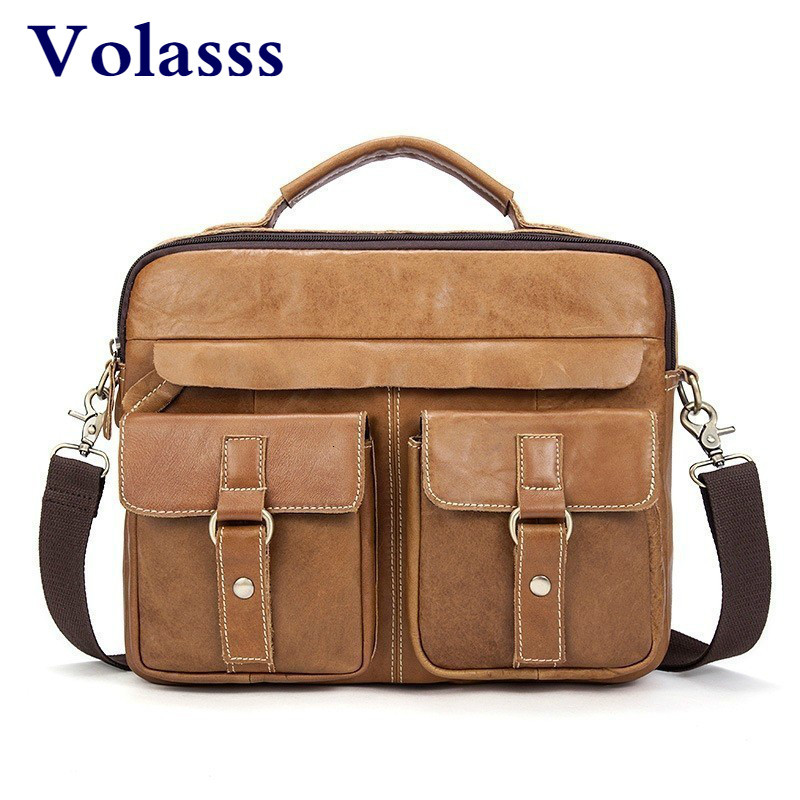 New Cow Leather 12 Inch Laptop Messenger Bag Brown Business Men Briefcase Male Bag Shoulder Bags For IPAD Tablet PC Bolso Hombre