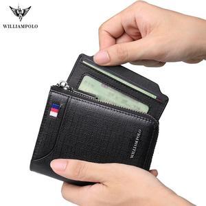 Image 3 - Мужской кожаный кошелек WILLIAMPOLO, многофункциональный кошелек на молнии с защитой от кражи, 2019
